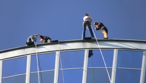 Abseiling from the Euromast